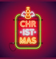 christmas vertical neon sign red with angel vector image vector image