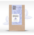 craft paper bag with fruit and berries tea label