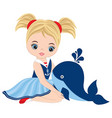 cute little girl with whale vector image vector image