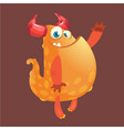 cute orange fat cartoon monster blob vector image vector image