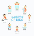 daily routine of kids infographic vector image vector image