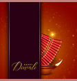 diwali festival design with cracker and diya vector image vector image