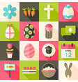 Easter flat styled icon set 3 with long shadow vector image