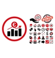Euro Business Chart Flat Icon with Bonus vector image vector image