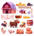 farm isolated icons set farmyard animals barn vector image