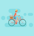 female character design riding bicycle vector image vector image