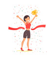 finish line woman athletic sportswoman vector image vector image