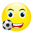 funny smile with a soccer ball isolated vector image vector image