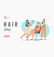 hair style landing page template woman character vector image vector image