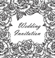 Hand Drawn Wedding Rose Frame vector image vector image