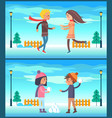 happy couple boy and girl running snow fight ball vector image vector image