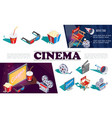 isometric cinema elements concept vector image