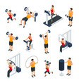 isometric people in gym collection vector image