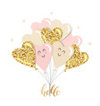 kawaii heart balloons brunch girly gold glitter vector image