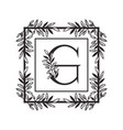 letter g alphabet with vintage style frame