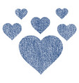 lovely hearts fabric textured icon vector image