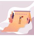 mark calendar businesswoman makes notes on vector image vector image