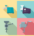 meat grinder icon set flat style vector image vector image