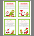 merry christmas and happy new year set of cards vector image vector image