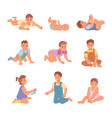 newborn and toddler baby boys and girls laying vector image vector image