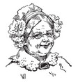 old woman with a ruffled bonnet vintage engraving vector image vector image