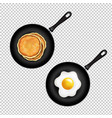 pan with pancake and fried eggs isolated vector image