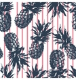 Pineapple pattern on pink stripes background vector image vector image