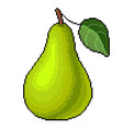 pixel green pear detailed isolated vector image