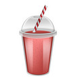 plastic cup red smoothie mockup realistic style vector image