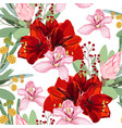 red lilies protea and orchid flowers vector image vector image