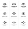 set black linear eye icons vector image vector image