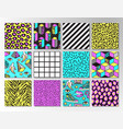 set seamless patterns in 80s-90s memphis style vector image vector image