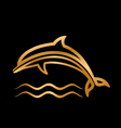 styled golden dolphin with waves vector image vector image