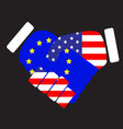 Symbol sign handshake European Union and USA vector image vector image