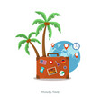 travel suitcase with palmtrees and globe vector image vector image