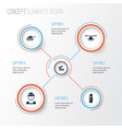 warfare icons set collection of military vector image