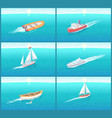 water transport travel means boats set vector image vector image