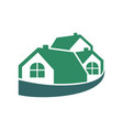 wrapped group house green logo vector image vector image