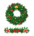 xmas decorative wreath bells and fir-tree branch vector image vector image