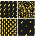 Yellow lightnings black seamless patterns vector image