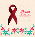 breast cancer ribbon with flowers decoration vector image