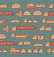 seamless pattern with fun cartoon transport vector image