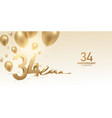 34th anniversary celebration background vector image vector image