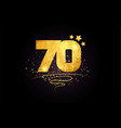 70 number icon design with golden star and glitter vector image vector image