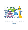 abstract logo design with board games modern vector image