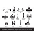 america continent and australia cities landmarks vector image