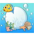 An orange fish near the big pearl vector image vector image