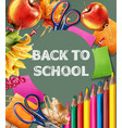 back to school banner sale school supplies vector image vector image