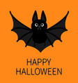 bat flying happy halloween cute cartoon character vector image