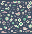 bird and floral seamless repeat pattern vector image